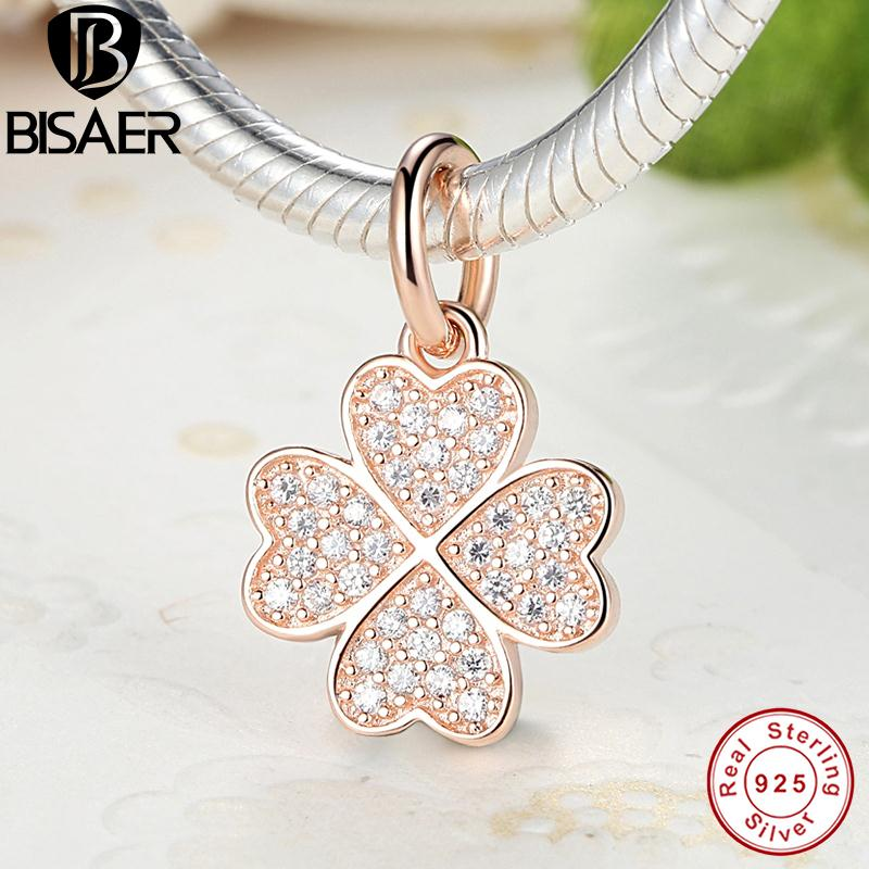 Silver Symbol Of Lucky In Love Rose Gold Four Leaf Clover